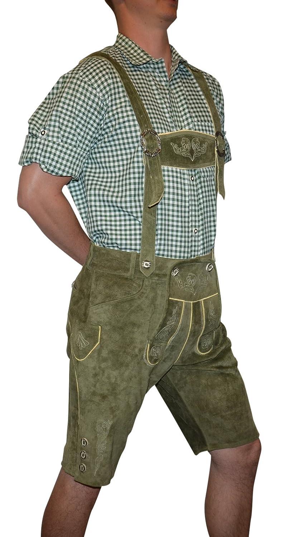Trachten 2-Piece Leather German Oktoberfest Lederhosen Shorts Loden Green