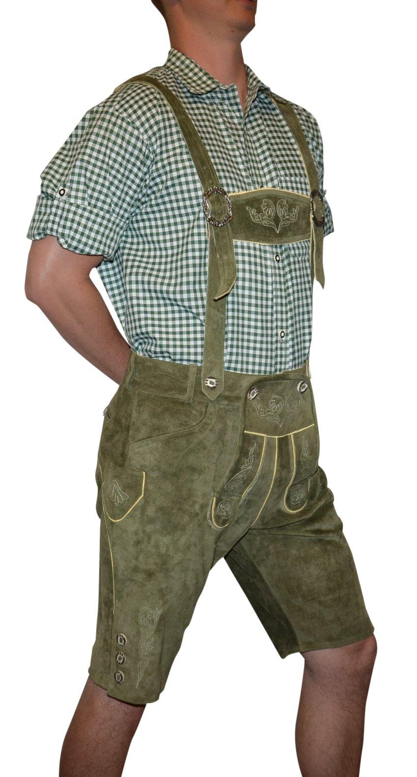 Trachten 2-Piece Leather German Oktoberfest Lederhosen Shorts 36 Loden Green