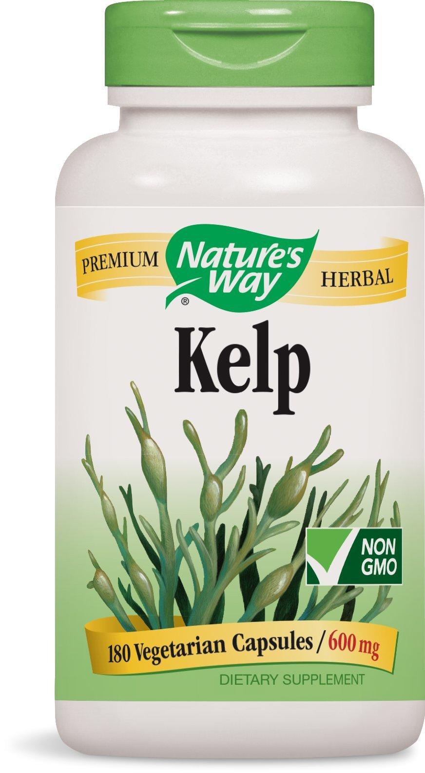 Nature's Way Kelp; 600 mg Kelp per serving; Non-GMO Project Verified; Gluten Free;Vegetarian;180 Vegetarian Capsules