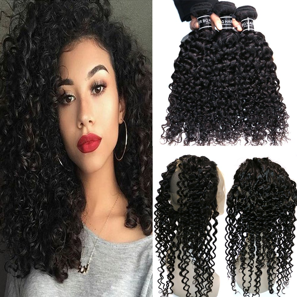 BQ HAIR Deep Curly 360 Frontal with Bundles 8A 100% Unprocessed Virgin Brazilian Human Hair -3 Bundles with 360 Lace Frontal Closure Pre Plucked (18''20''22''&16'')