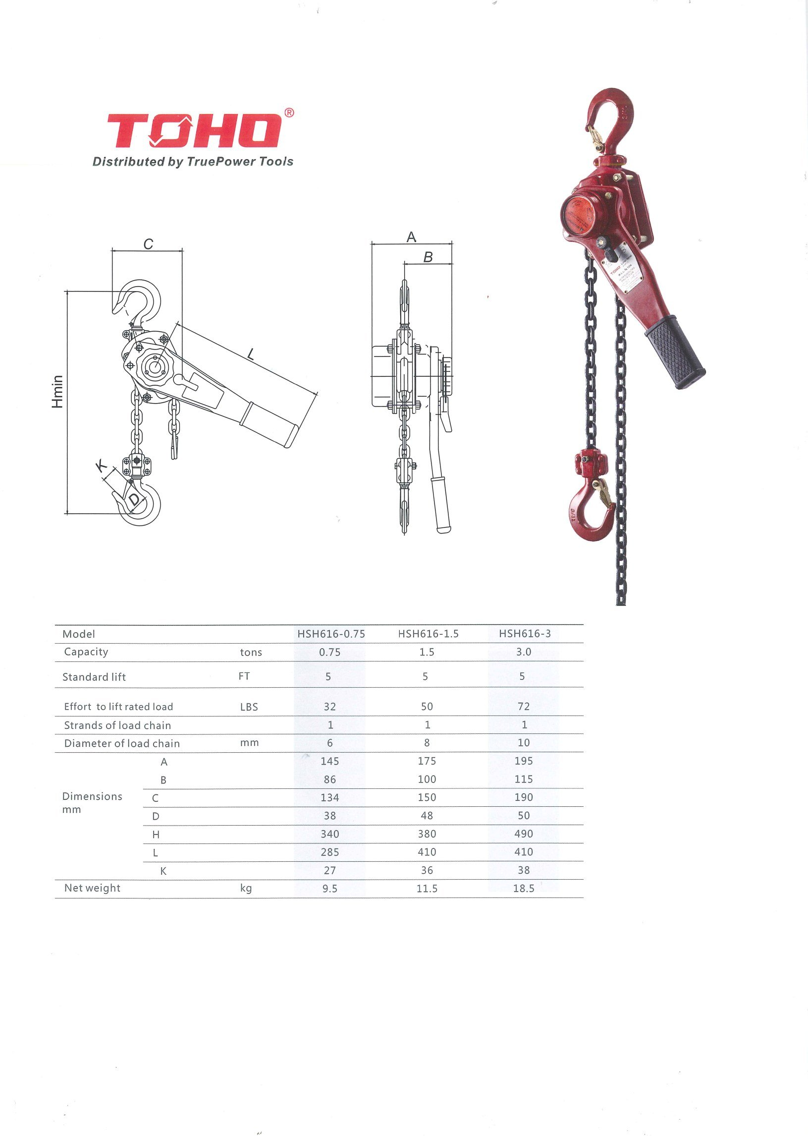 TOHO HSH-616 OP Lever Block/Ratchet Puller Hoist with Overload Protection  (1 5 Ton, 10 Foot Chain)