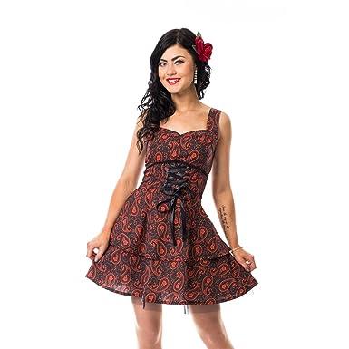 Rockabella Ellie Paisley Dress Black Red Women Goth Punk Emo Dresses