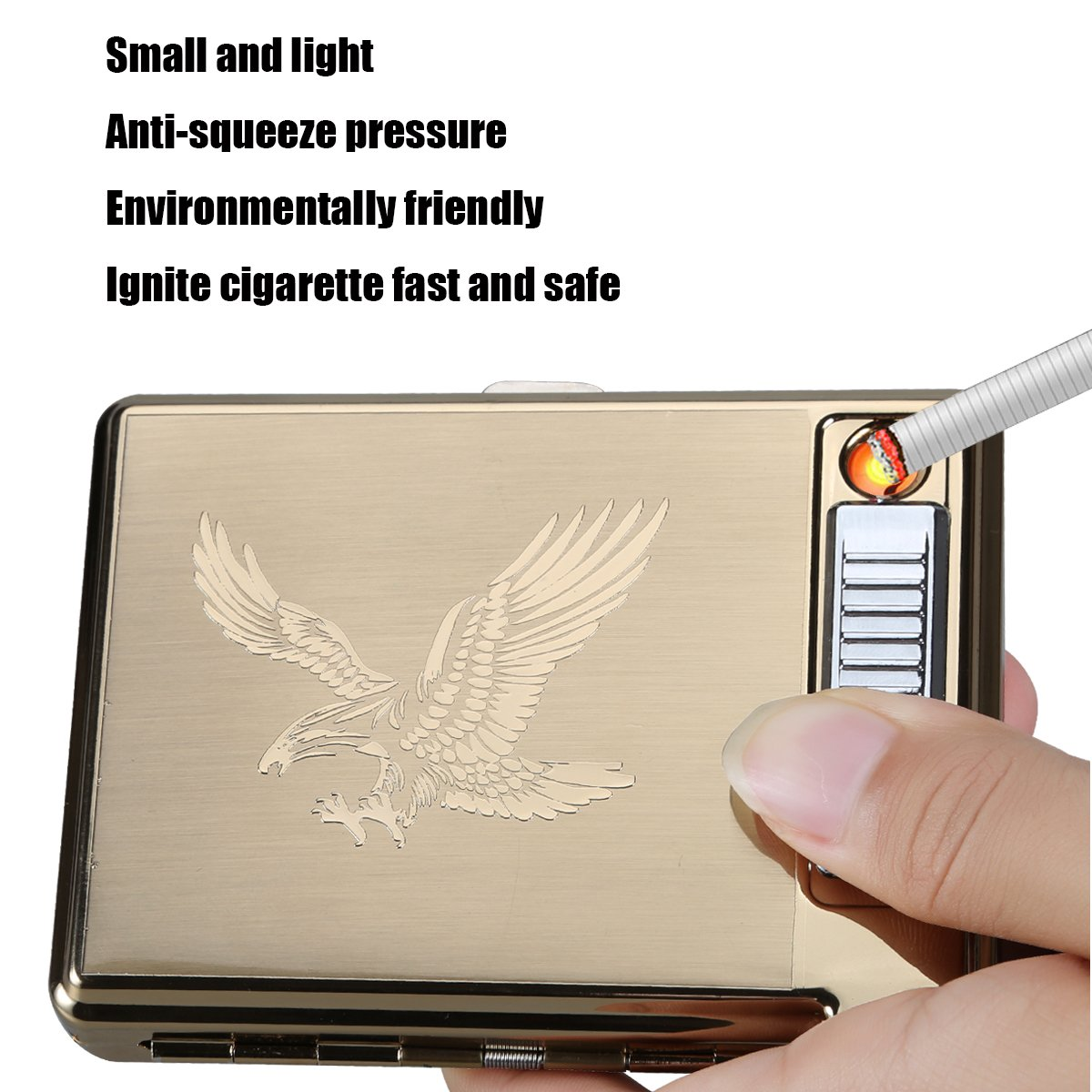 Moonwbak Cigarette Case Lighter, Metal Full Pack 20 Regular Cigarettes Box Holder USB Rechargeable Cigar Lighter Flameless Windproof with USB Cable Best for Birthday Gifts (Eagle)