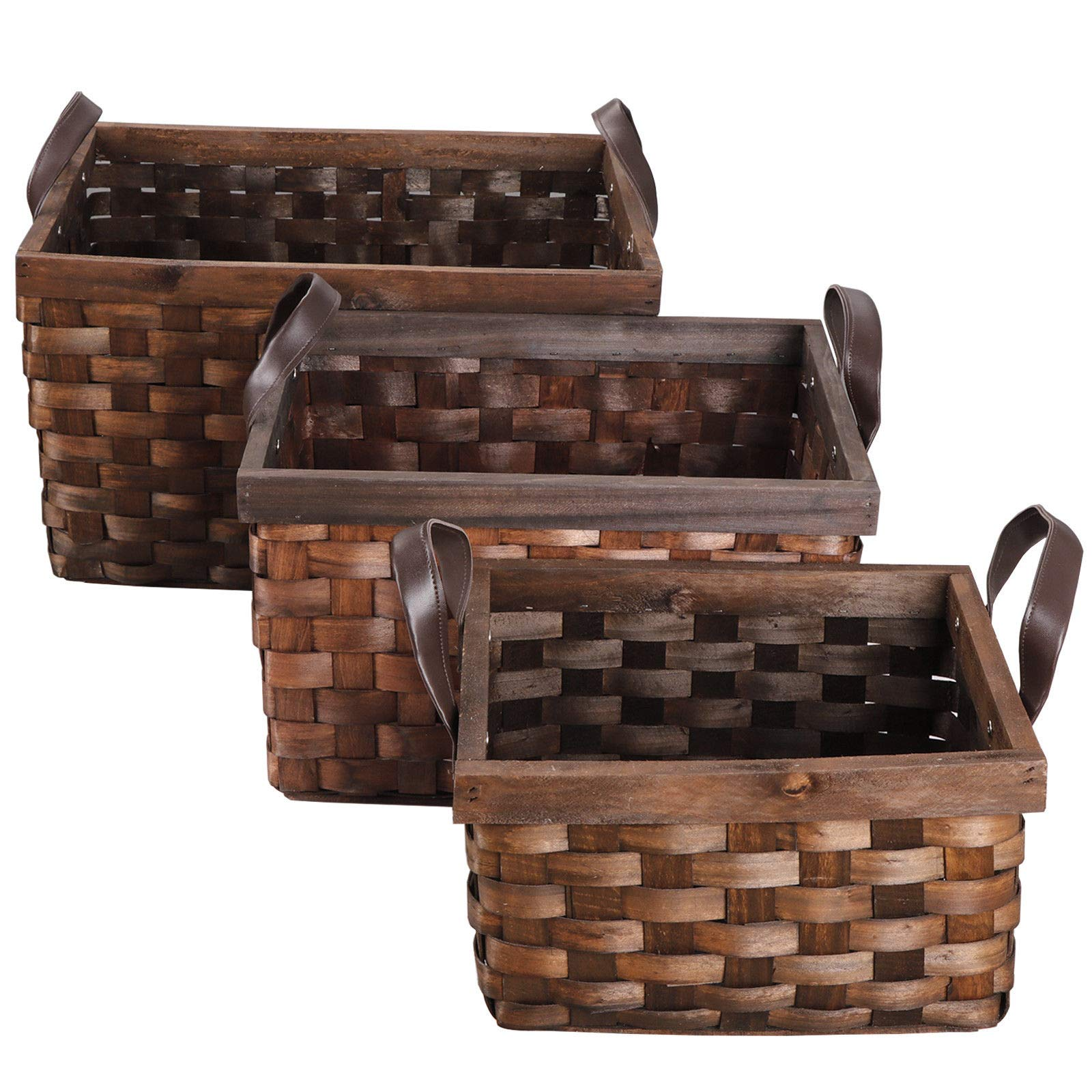 3Pcs Wicker Rattan Woven Storage Bin Basket Food Fruit Container W/Leather Tote