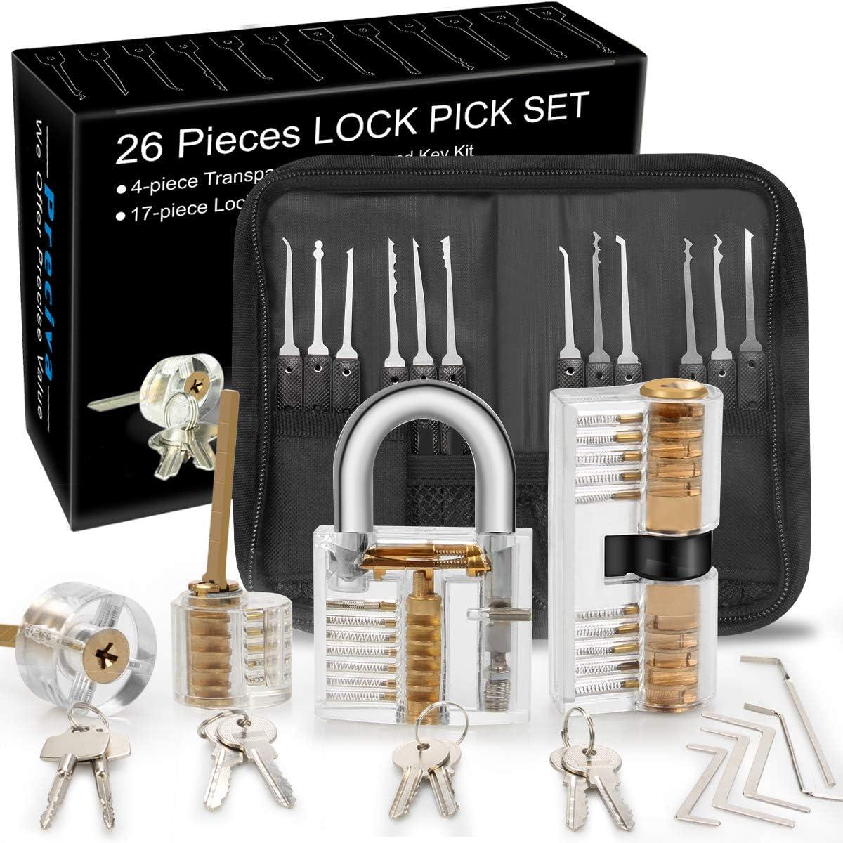 Lockpicking Tool Set en Acier Inoxydable... Kit Crochetage Serrure 18 Pièces