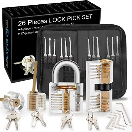 Kit De Crochetage Serrure Preciva 26 Piece Lock Picking Kit Outils De D Entrainement Avec 4 Serrure Transparente Pour Serruriers Debutant Et Pro Transparent Amazon Fr Bricolage