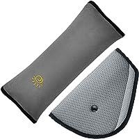 Cinturón de almohada con los niños Ajustador del cinturón de ajuste, maxin ajustar las almohadillas de los hombros del vehículo. Cubiertas del safter del cinturón de seguridad del niño para el adulto del bebé de los niños gRis