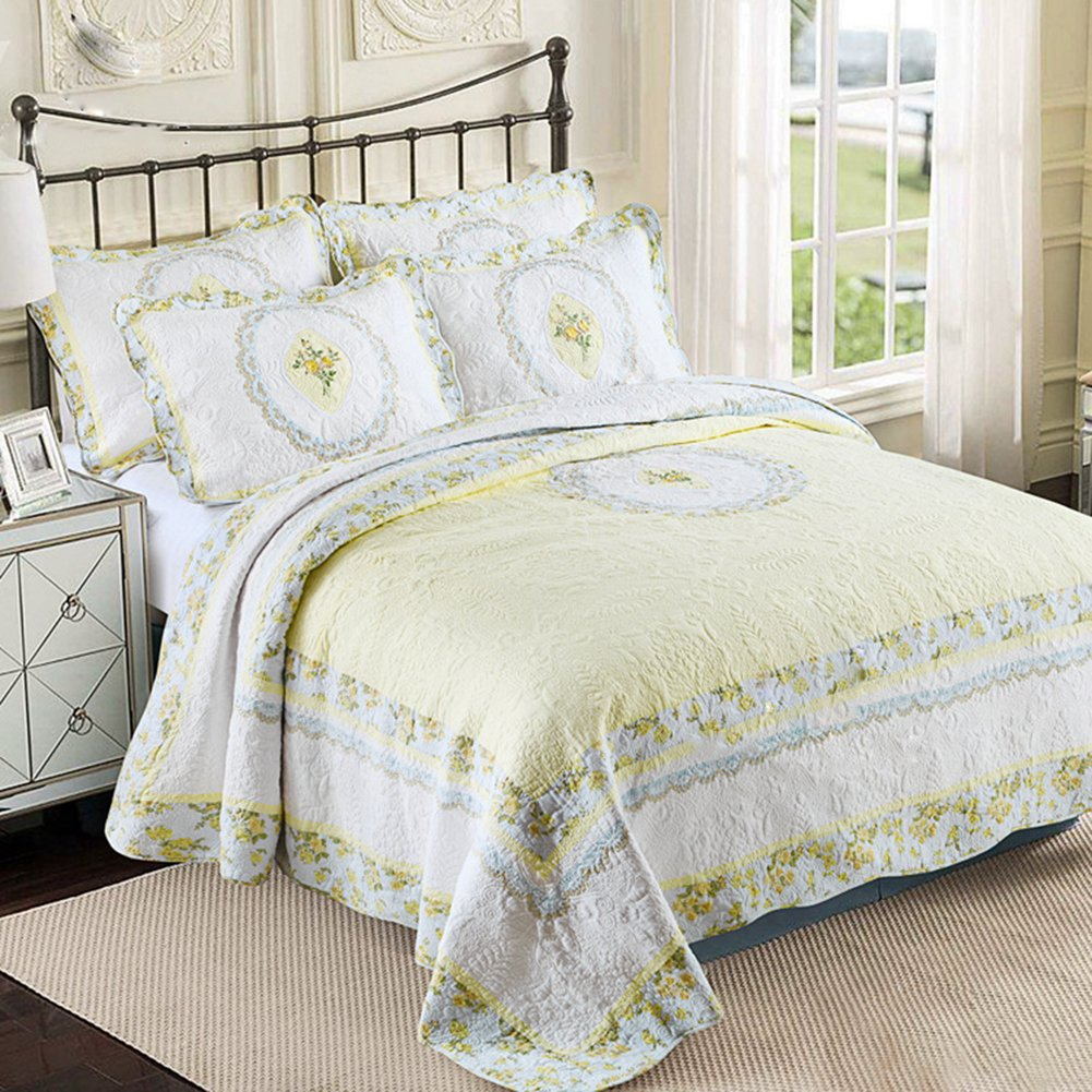 DOUH 3 Piece Quilt Set with Shams All-Season Luxury 100% Cotton Reversible Bedspread and Coverlet Bedding Lightweight Comforter Emboridery Printed Floral Pattern Queen Size(90''x90'')