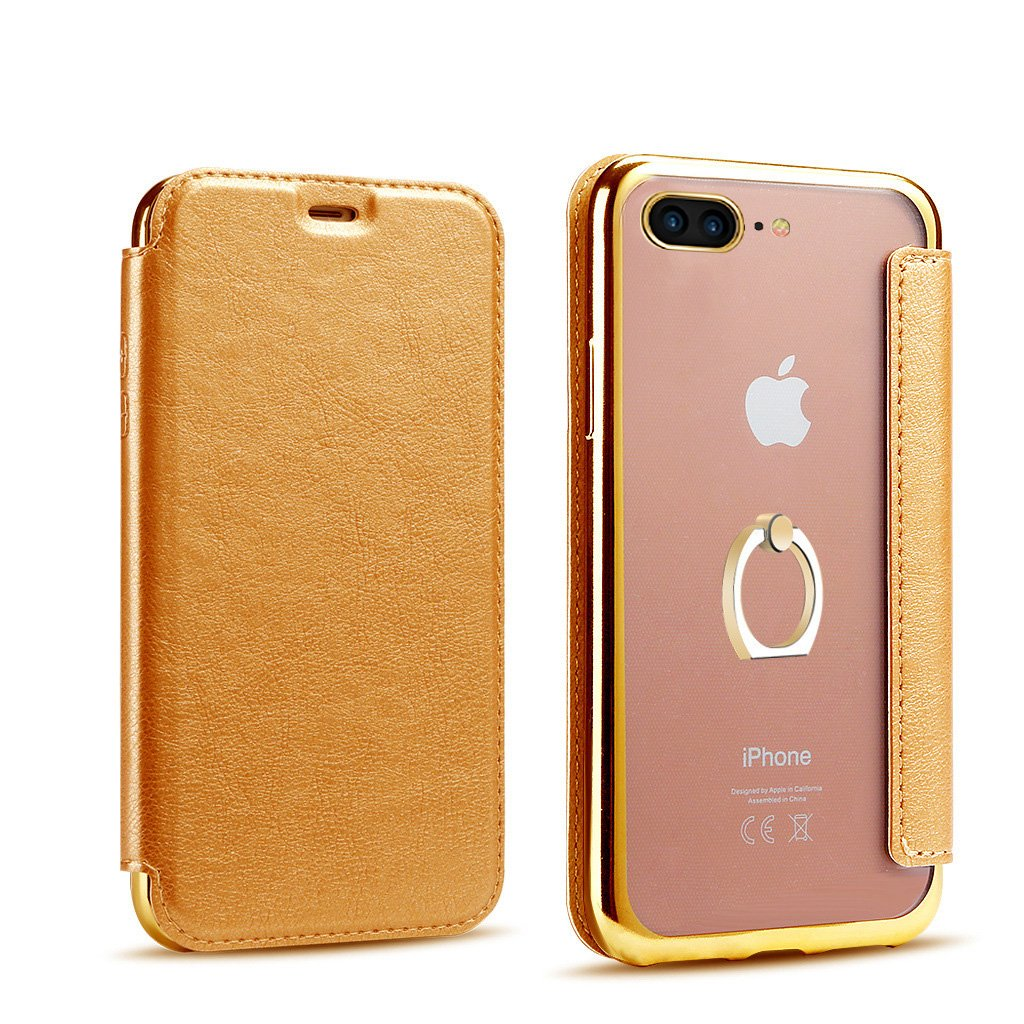 PHEZEN iPhone X Case,iPhone X Flip Case, iPhone X Pu Leather Wallet Case,Luxury Plating Transparent TPU Rubber Back Case with Ring Holder Kickstand -Gold+Brown