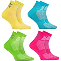 Rainbow Socks - Niño Niña Deporte Calcetines Antideslizantes ABS de Algodón - 4 Pares - Amarillo Turquesa Verde Rosa…