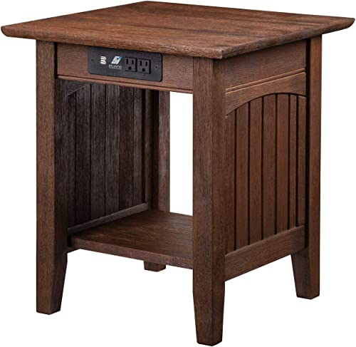 Atlantic Furniture Nantucket End Table with Charging Station, Burnt Amber