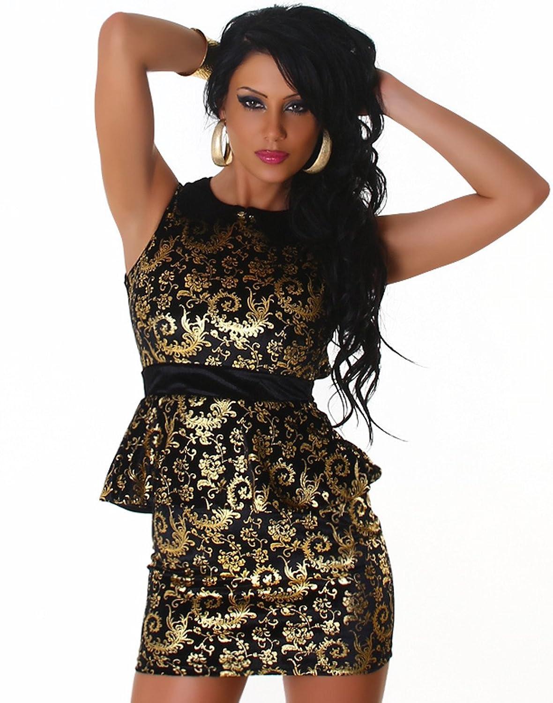 Jela London Damen Minikleid elegant mit goldfarbenem Muster verziert