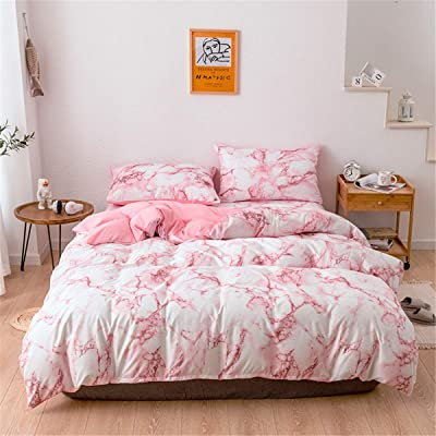 WINLIFE Marble Print Duvet Covet Twin 2-Pieces Pink Bedding Set for Girls (Twin, Pink): Home & Kitchen