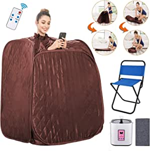 Anfan Portable Steam Sauna 2L Personal Home Sauna Spa for Weight Loss & Detox Relaxation w/Remote Control, Foldable Chair and Timer (Brown)