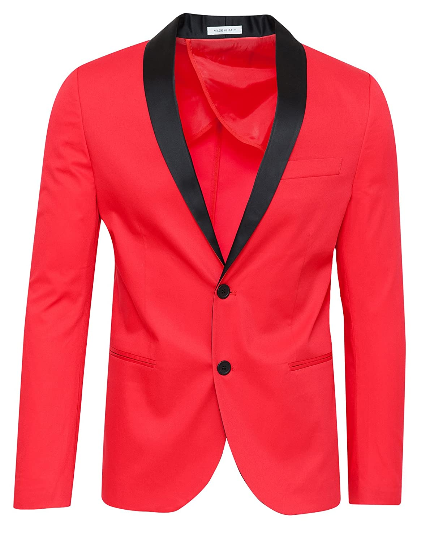 GIACCA UOMO SARTORIALE Rosso Elegante 100% Made In Italy Con