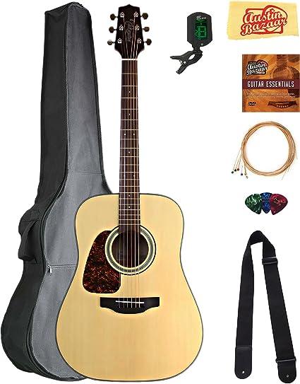 Takamine - Guitarra acústica GD30 con estuche, cable, afinador, correa, cuerdas, púas, DVD con instrucciones y bayeta limpiadora: Amazon.es: Instrumentos musicales