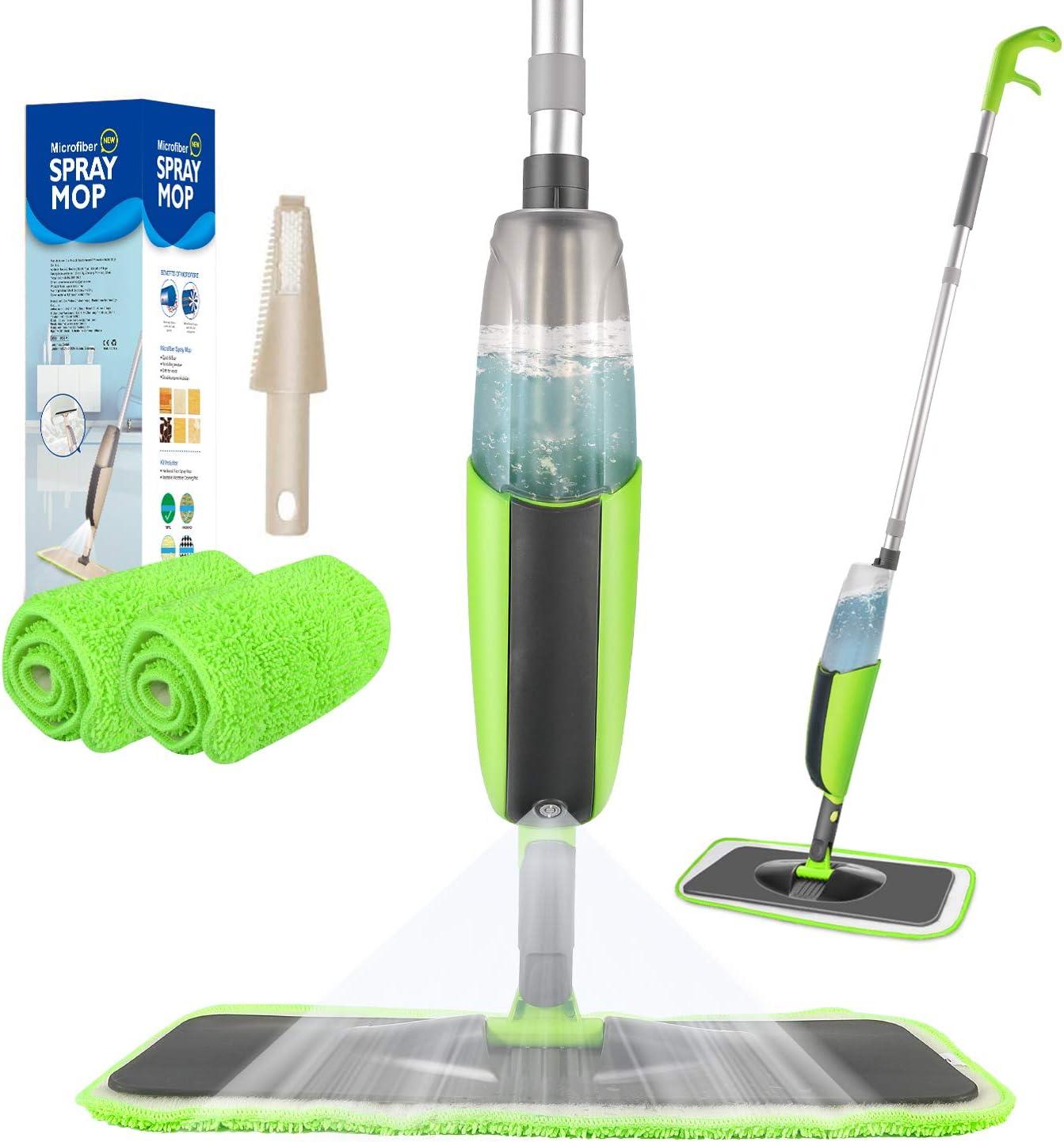 Tencoz Spray Mop, Mopa con Pulverizador, Fregona con Vaporizador, Mopa Spray Rotación de 360°, Capacidad de 300 ML con 4 Trapeadores y Raspador de Ventana para Ventanas, Pisos, Azulejos