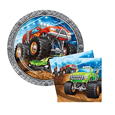 "Monster Big Truck Rally Party Bundle 9"" Plates (16) Napkins (16): Toys & Games"