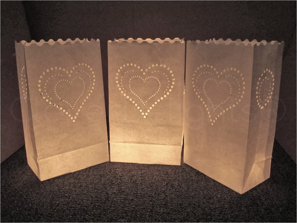 CleverDelights White Luminary Bags - 20 Count - Heart of Hearts Design - Flame Resistant Paper - Wedding, Reception, Party and Event Decor - Luminaria Candle Bag by CleverDelights