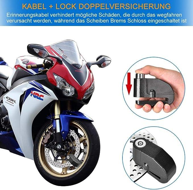 Bremsscheibenschloss Motorradschloss Alarmschloss 110db Laute Sirene Alarm Für Motorrad Und Fahrrad Mit Erschütterungsalarm Auto