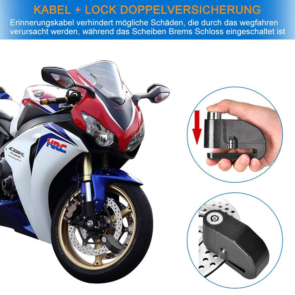 2x Alarmschloss 110dB Bremsscheibenschloss Fahrrad Motorrad Roller Alarm Schloss