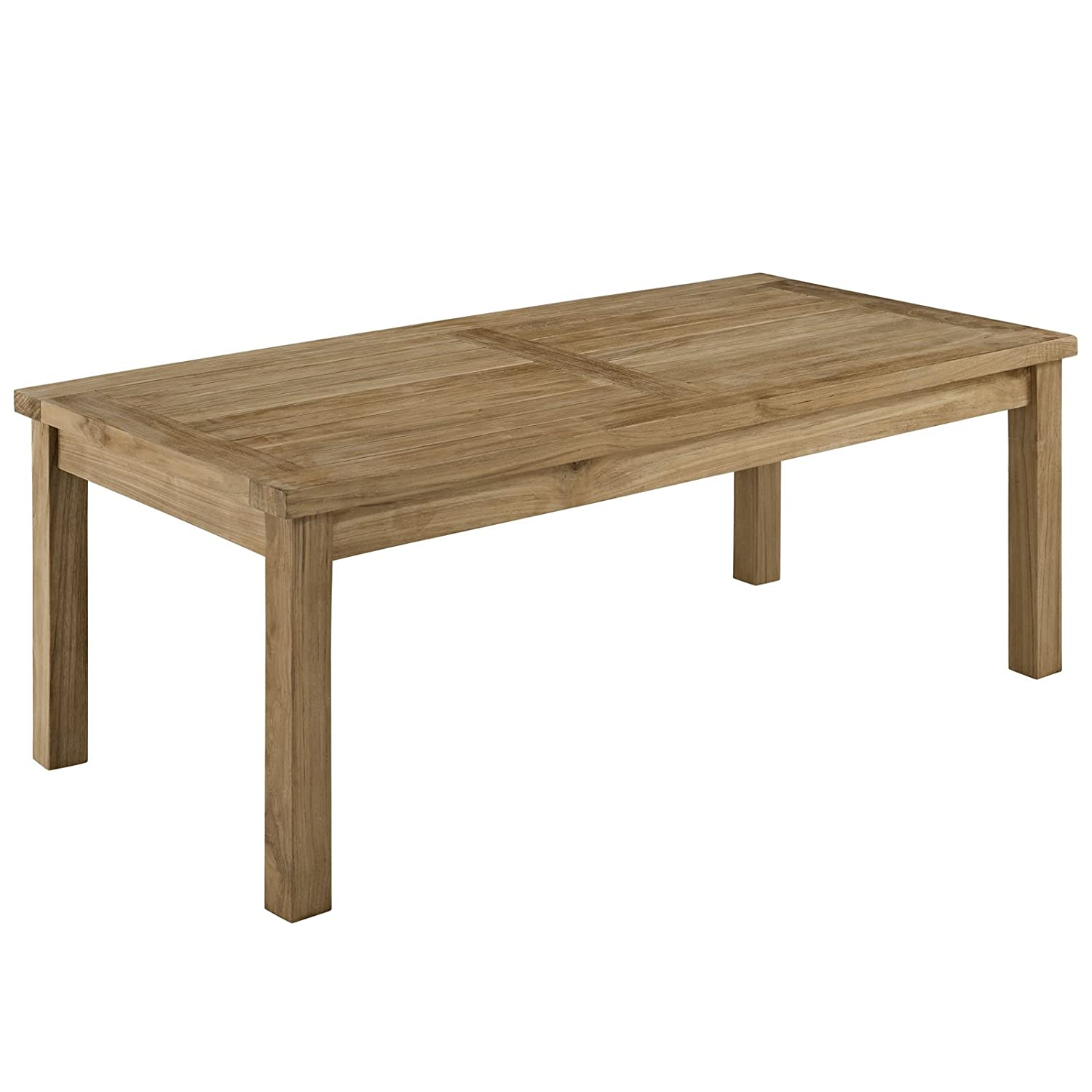 Amazon com modway marina teak wood outdoor patio rectangle coffee table in natural garden outdoor