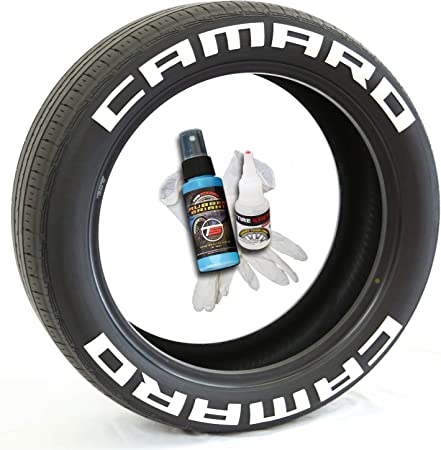 Camaro Tire Lettering Tire Stickers Permanent Rubber Kit with Glue 13-22 Inch Wheels 1 Inch Tall 8 Pack