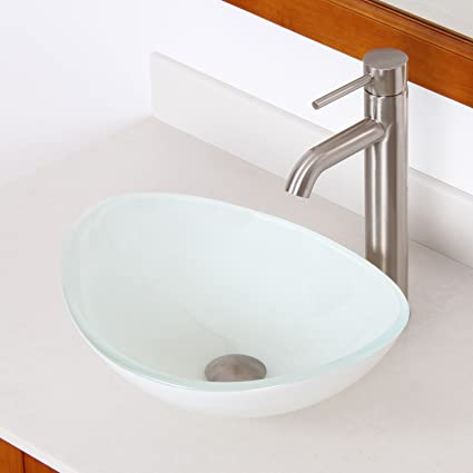 Elite Tempered Oval Bathroom White Pattern Glass Vessel Sink