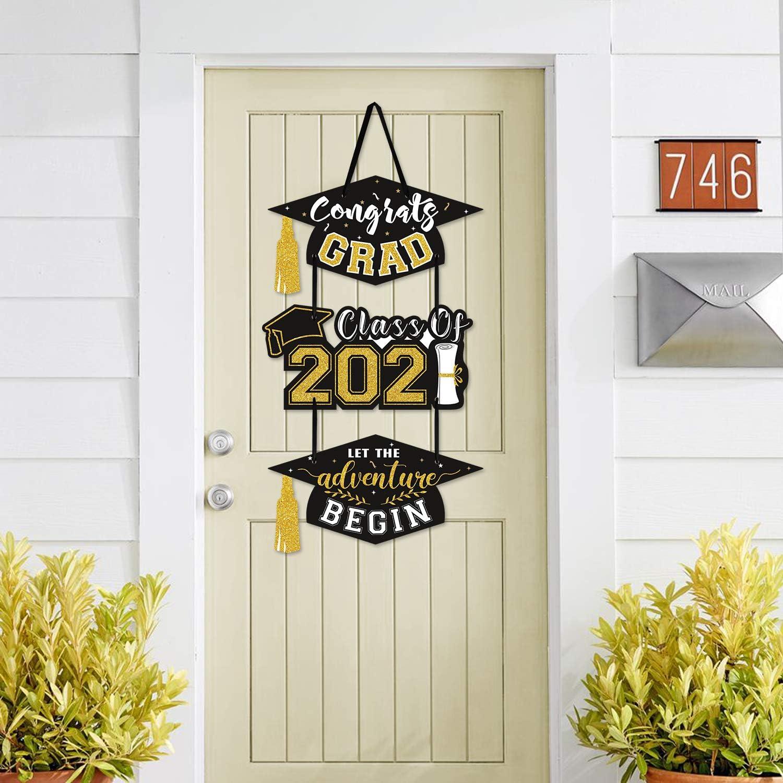 Amazon Com 2021 Graduation Party Door Sign Cutouts Congrats Grad Class Of 2021 Adventure Begins Wall Porch Hanging Celebration Decorations Supplies Toys Games