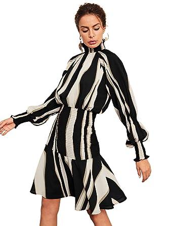 c9957b7d106 Floerns Women's Ruffle Hem Mock Neck Long Sleeve Stripe Smocked Dress Black  XS at Amazon Women's Clothing store: