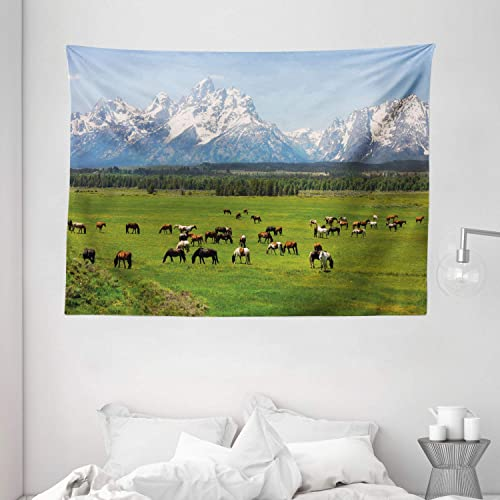 Ambesonne Horse Tapestry, Grand Teton National Park Snowy Mountains Fresh Greenery Trees Animals, Wide Wall Hanging for Bedroom Living Room Dorm, 80 X 60 , Blue Green