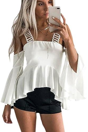 Las Mujeres Sin Tirantes Dobladillo Irregular Llamarada Amplia Campana Manga Blusa T Shirt