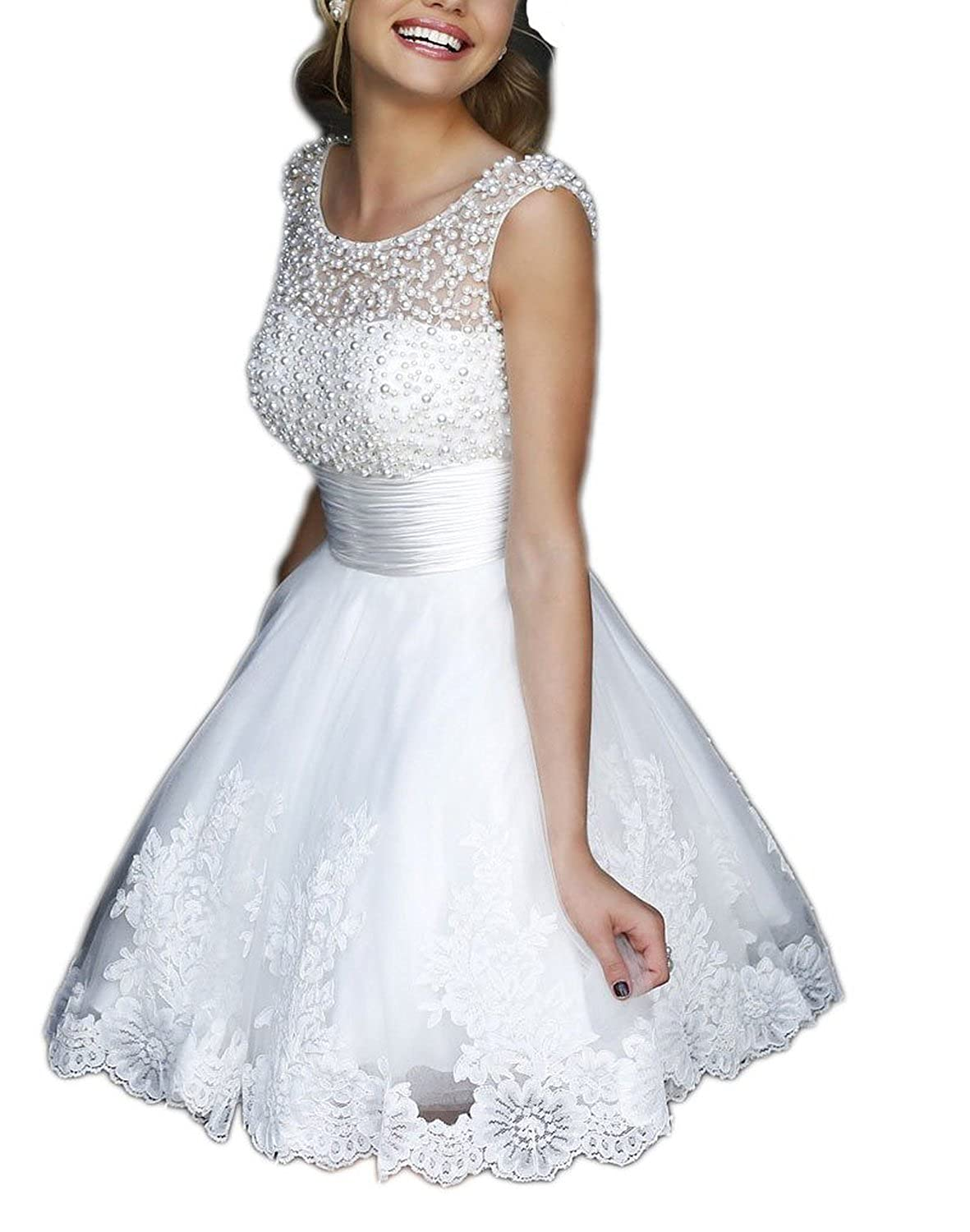 Sweety Bridal Charming A-line Beaded Lace Short Empire Wedding Dress Prom Dresses