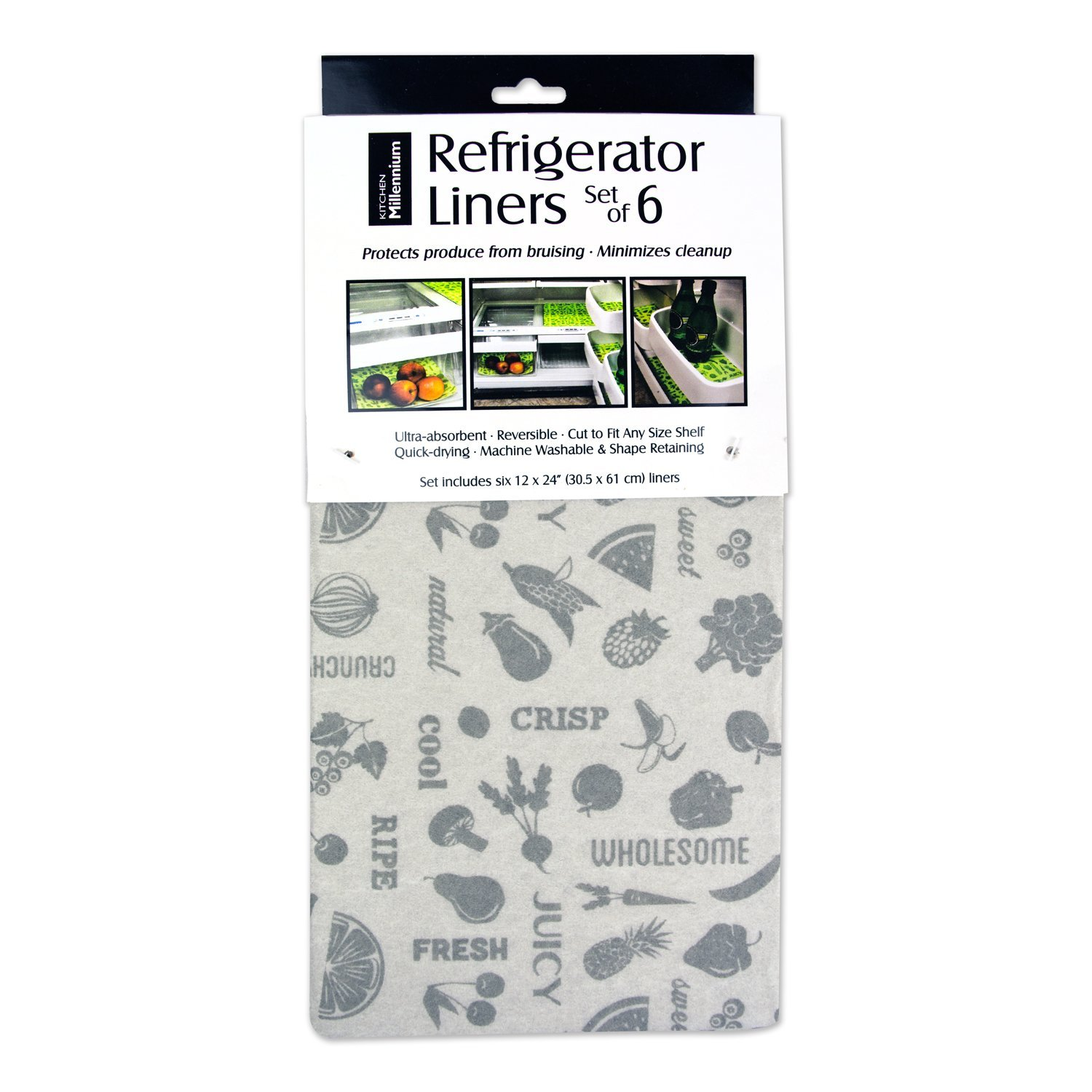 """DII Non Adhesive Cut to Fit Machine Washable Fridge Liner For Drawers, Bins, Trays, Protect Produce, Set of 6, 12 x 24"""" - Gray"""