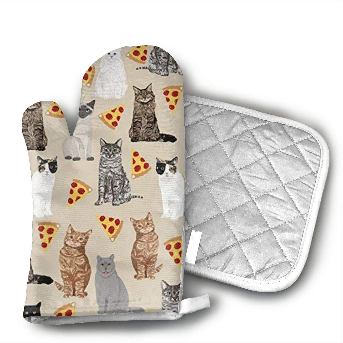 UYRHFS Cute Cats with Pizzas Oven Mitts and Pot Holder Kitchen Set with, Heat Resistant, Oven Gloves and Pot Holders 2pcs Set for BBQ Cooking Baking