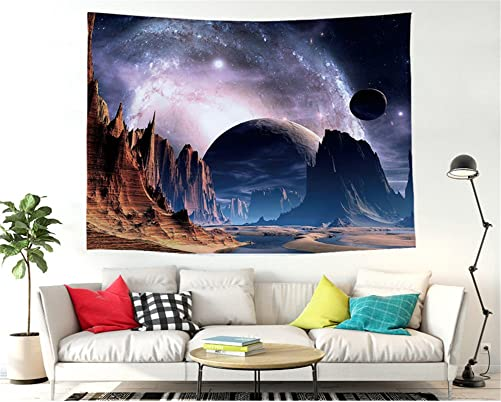 Utopone Space Wall Tapestry Blue Galaxy Star Tapestry Wall Hangings, Large Tapestries Moon Mountain for Bedroom Living Room Dorm Starry Tapestry Wall Art Blanket Decor, Nail Included 51×59