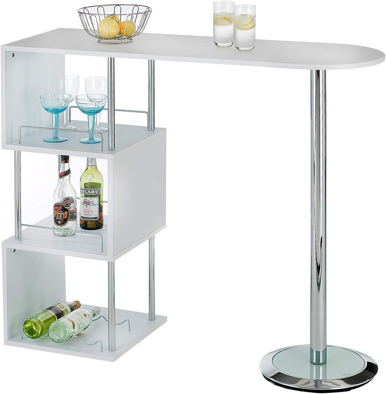 IDIMEX Bartisch Stehtisch Bartresen VIGANDO in weiß mit Stauraum und Flaschenhalterung - Theke Bar