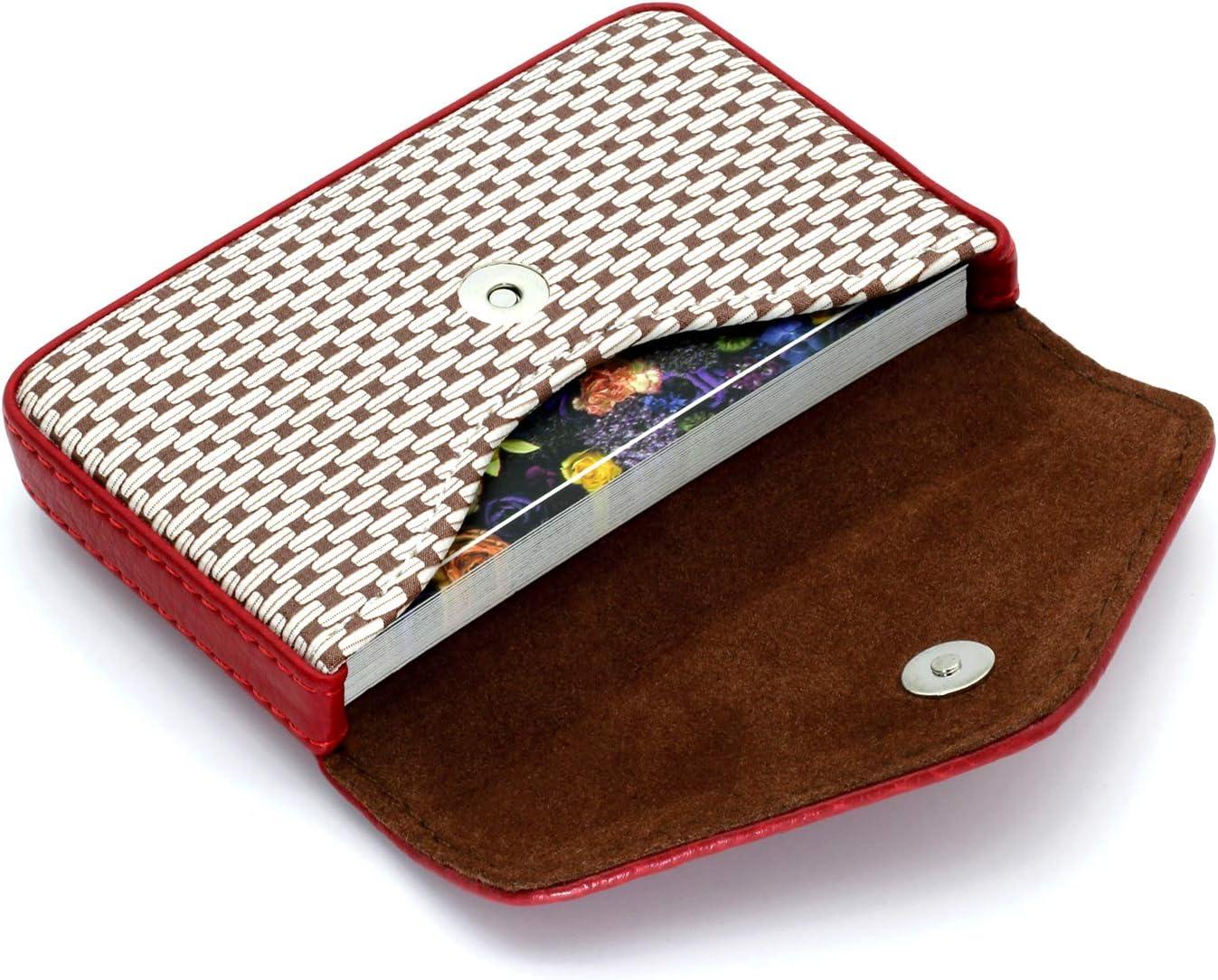 Mehrzweck-Visitenkartenetui aus PU-Leder mit magnetischem Verschluss ideal als Geschenk rot