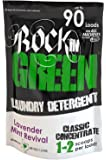 Natural HE Powder Laundry Detergent by Rockin' Green, Perfect for Cloth Diapers, Classic Rock Formula for Normal Water, Up to 90 Loads Per Bag, 45 oz, Lavender Mint Revival Scent