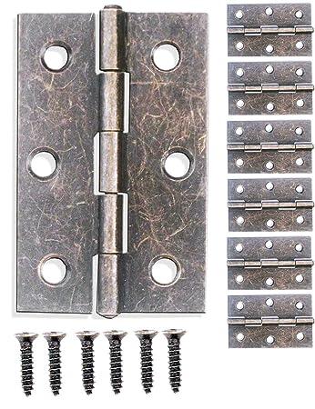Bronze Eisen Design F/ür Schr/änke Schrank-T/üren Truhen Kisten Dosen im Vintage Land-Haus Retro Stil FUXXER/® 56 x 42mm 6er Set 6x Antik Scharniere