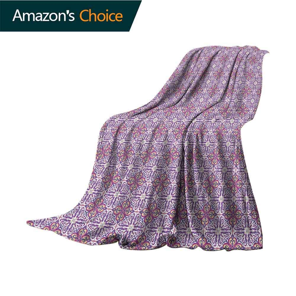 Vintage Weighted Blanket for Kids,Abstract Oriental Floral Motifs Antique Hand Tile Design Repeating Pattern Comfortable Soft Material |give You Great Sleep,60'' Wx70 L White Purple Pink