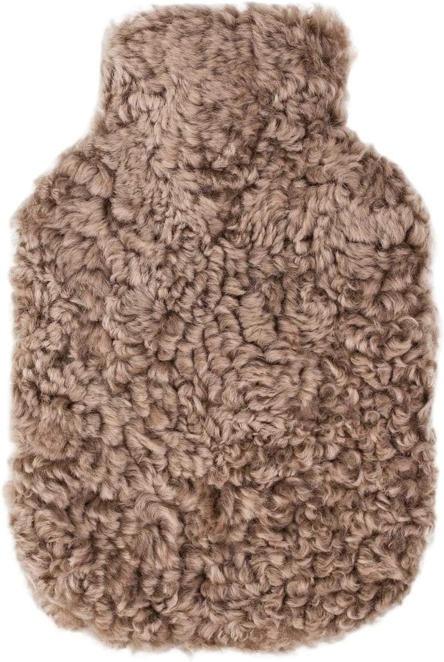 The Wool Company Swedish Curly Sheepskin Hot Water Bottle in Taupe | Stays Warm For Hours | Hot Water Bottle Included