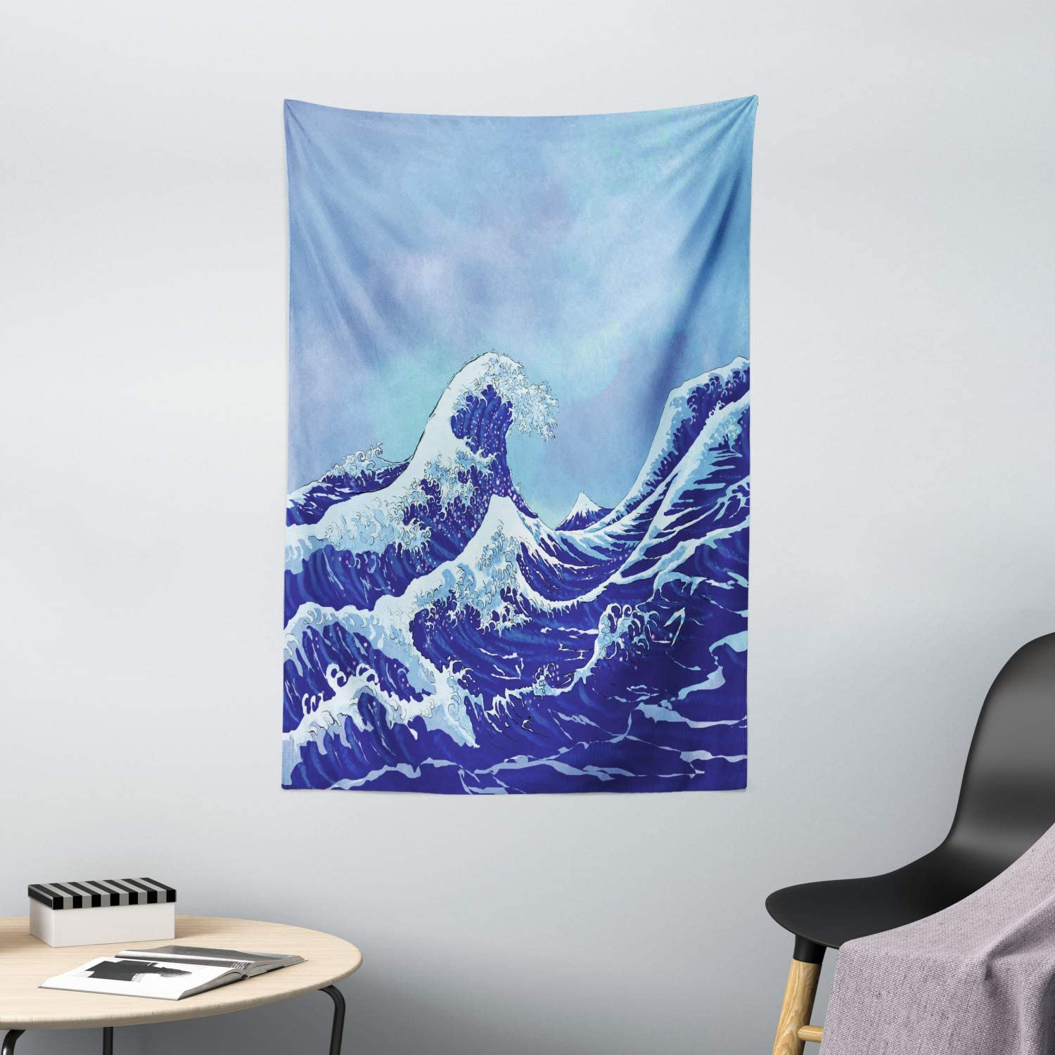 Ambesonne Kanagawa Tapestry, Big Tsunami in The Ocean Blue Sky Japanese Nature Sea Waves Art, Wall Hanging for Bedroom Living Room Dorm Decor, 40