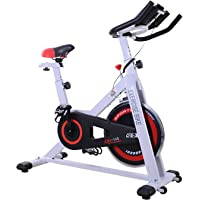 Homcom Vélo d'appartement Cardio vélo Biking écran Multifonction Selle et Guidon réglables Blanc Noir Rouge