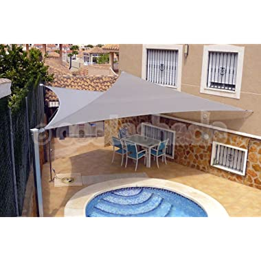 Artouch Light Grey 16'x16'x16' Triangle Sun Shade Sails UV Block for Shelter Canopy Patio Garden Outdoor Facility and Activities
