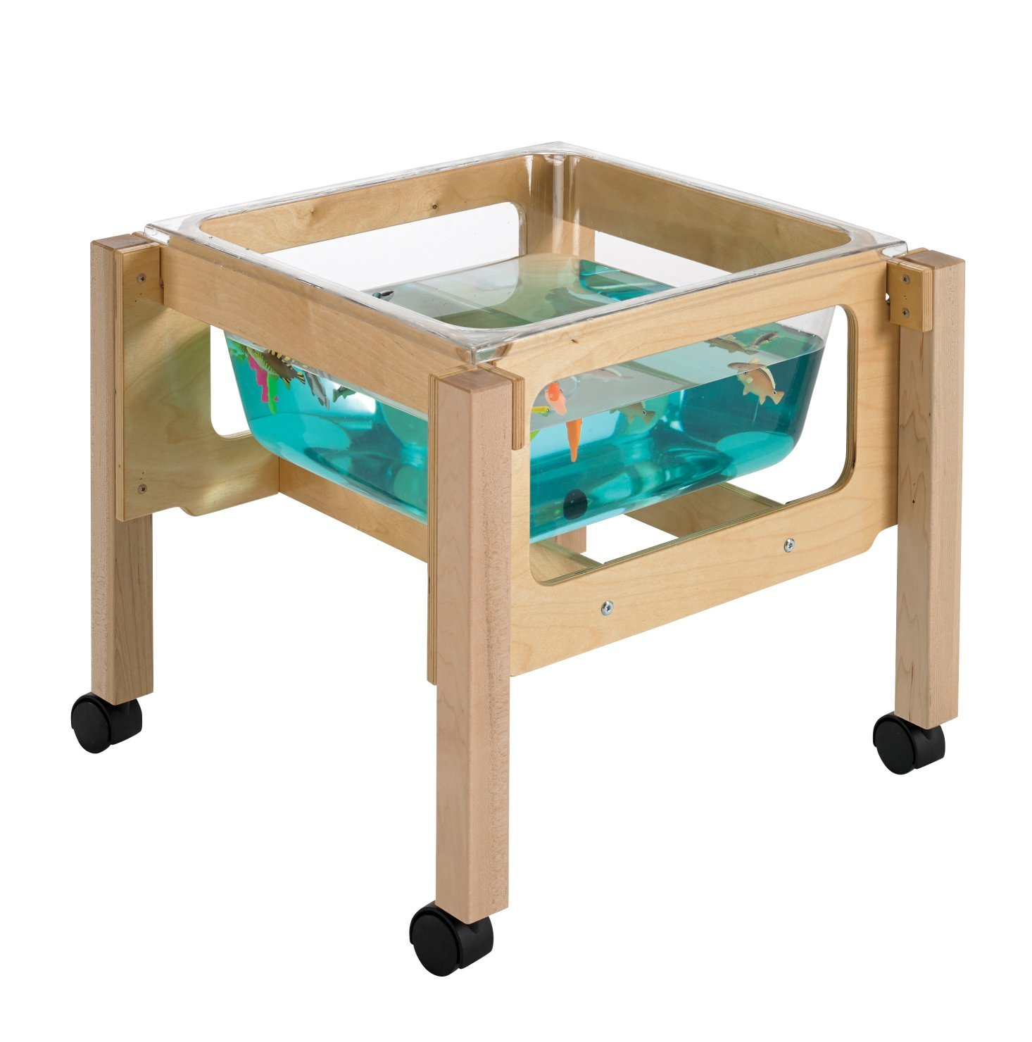Childcraft 1491071 Toddler Sand and Water Table with Tub, 21'' Height, 23.25'' Width, 23.25'' Length, Natural Wood