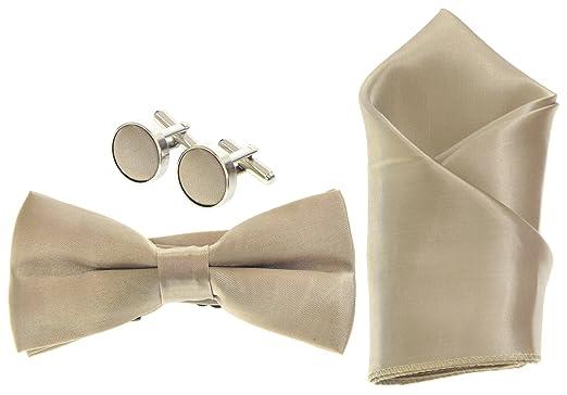 e468dd1377f6 Champagne Gold Mens Bow Tie, Cufflinks & Pocket Square/Hanky ...