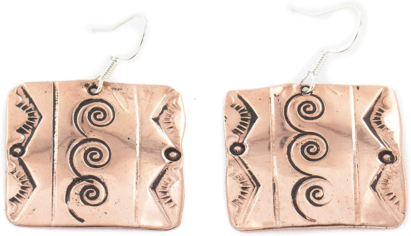 $150Tag Certified Navajo Mountain Wave Copper Dangle Native American Earrings 18169 Made By Loma Siiva