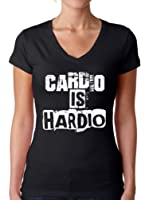 Awkward Styles Women's Cardio Is Hardio V-neck T shirt Tops White Workout Gym