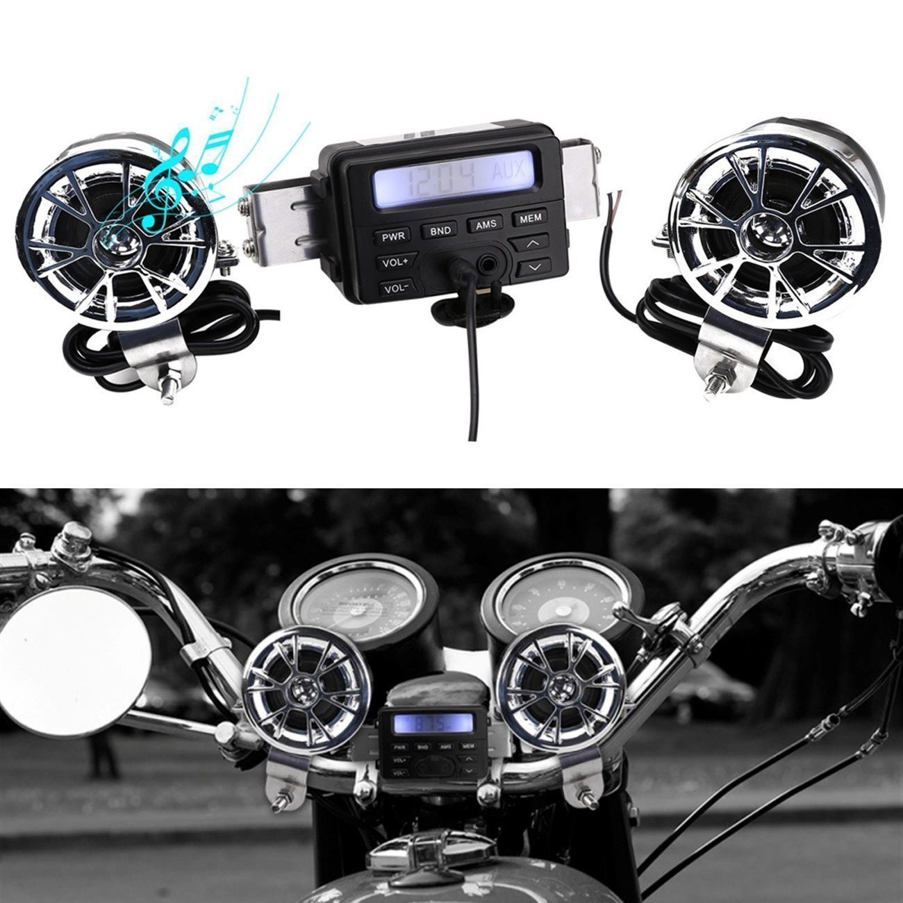 Motorcycle Audio Handlebar , INNOGLOW Radio Motorcycle Handlebar Audio Amplifier Stereo Speaker System FM MP3 2 Speakers For Honda VT Shadow Spirit Velorex Deluxe 600 750 1100